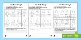 Year 2 Adding Coins Homework Activity Sheet - year 2, maths, homework, money, coins, addition, combinations of coins, total,