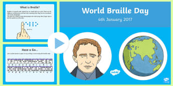 KS2 World Braille Day PowerPoint - KS1/2 World Braille Day  (4.1.17), braille, louis braille, planchette, night writing, blind, blind w