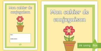 Couverture de cahier : Cahier de conjugaison - cycle 2, cycle 3, organisation de la classe, classroom organisation, couverture, cahier, conjugaison