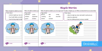 The Making of Milton Bicycle Worries Differentiated Activity Sheets - Twinkl originals, fiction, Describe, Thoughts, Feelings, Courage, Afraid, worksheets