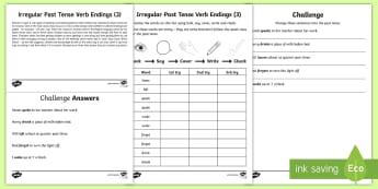 Year 2 Spelling Practice Irregular Past Tense Verb Endings (3) Homework Activity Sheet - ks1, English, year 2, practice, home learning, home work, Worksheet, homework, practise, SPaG, spell