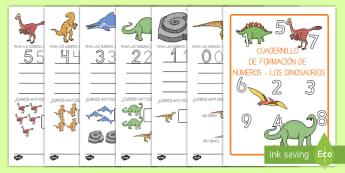 Cuadernillo: La formación de los números 1-9 de los dinosaurios - Dinosaurios, pre-historia, dinos, tiranosaurio, estegosaurio, triceratops, proyectos, aprendizaje ba