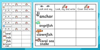 Under the Sea Topic Word Practise Worksheet - ESL Handwriting Resources