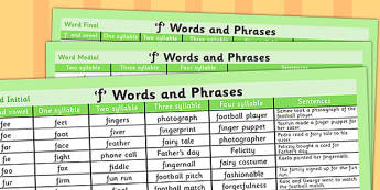 F Word List - f word, f word list, vocabulary, example, SLT, SALT