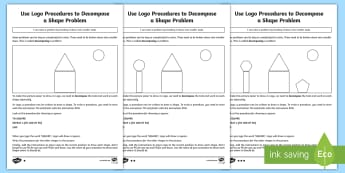 Use Logo Procedures to Solve a Shape Problem Differentiated Activity Sheet - worksheet, computing, coding, program, algorithm, procedure, logo, repeat, shape, instructions