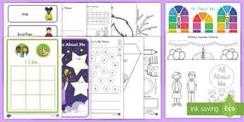All About Me Activity Pack - All About Me, me, About Me, My Body, My Feelings, My Senses, My Family,