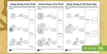 F-2 Pirates-Themed Maths Change Giving Activity Sheet - Australian Curriculum, Australia, History, Worksheet