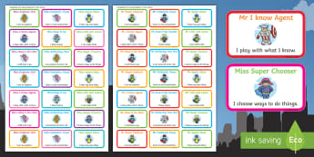 Mr and Miss Superhero Themed Characteristics of Effective Learning Stickers - Ready Made Superhero Themed Characteristics Effective Learn Pack, superheor, supehero