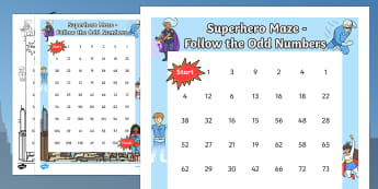 Superhero-Themed Follow the Odd Numbers Maze - superhero, counting, count, odd numbers, maze