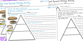 Healthy Eating Food Pyramid Writing Activity - food group, health