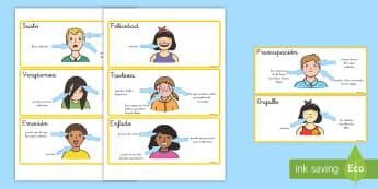 Tarjetas de vocabulario: Características de las emociones - tarjetas de vocabulario, emociones, sentimientos, auto estima, autoestima, todo sobre mí, yo mismo,
