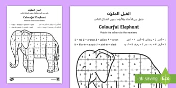 Colour by Number Sheet Elmer the Elephant Arabic/English - Elmer Colour by Number Sheet - Elmer, Elmer the elephant, resources, colour by numbers, counting, nu