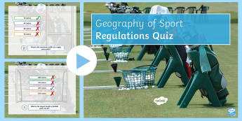 Sport Regulations PowerPoint - Quiz, field, rules, balls, Stadium, wins, points,