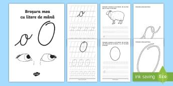 """Scrierea literelor """"o"""" și """"O"""" de mână Broșură cu activități  - alfabetul, scriere, litere, de mână, grafisme,Romanian"""