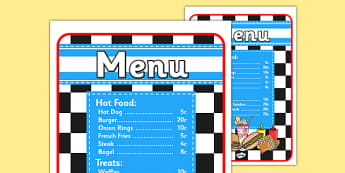 American Diner Role Play Menu-american diner, role play, menu, diner menu, role play menu, diner, american diner role play, role play diner