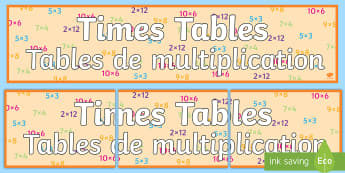 Times Tables Display Banner English/French - Times Tables Display Banner - times table, times tables, display banner, display, banner,imes tables