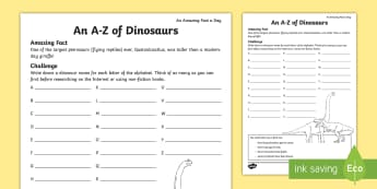 An A-Z of Dinosaurs Activity Sheet - amazing fact august, dinosaurs, Alphabet activity, dinosaur activity, amazing fact, worksheet, Palae