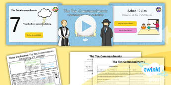PlanIt - RE Year 2 - Rules and Routine Lesson 2: The 10 Commandments Lesson Pack  - Rules and Routine, RE, Christianity, Ten Commandments, Judaism, religious education, planning, plans