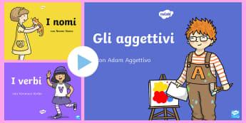 La Gang della Grammatica Nomi Aggettivi Avverbi Verbi Pacco Presentazione Powerpoint - presentazione, powerpoint, grammatica, analisi, logica, grammaticale, italiano, italian
