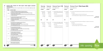 Animal Farm Mini Exam Pack - Animal Farm, mark scheme, aqa, exam, examples, questions, pack