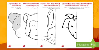 Chinese New Year Story Animals Draw the Other Half Activity Sheet English/Polish - Chinese New Year KS1. KS2, EYFS, Celebration, festivals, rooster,Polish-translation