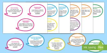 Year 1 Australian Curriculum Science Inquiry Skills: I Can Speech Bubbles - Grade 1, science outcomes, science assessment, Australian science, walt, tib, wilf,Australia