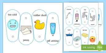 Bath Time Communication Fan - communication, bath, shower, visual support, visual aid, PECS, core board