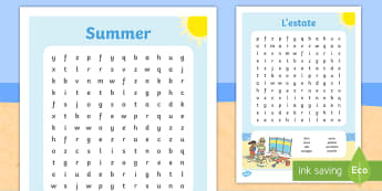Summer Themed Word Search Italian English/Italian - Summer Themed Differentiated Wordsearch - seasons, weather, games, waether, WHEATHER, seaons, wetahe
