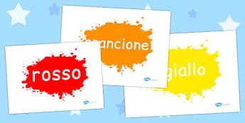 Colour Words on Splats Italian - italian, colour, words, splats