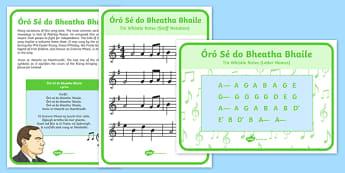 Oro Se Do Bheatha Bhaile Irish Gaeilge Tune Lyrics And Notes - oro se do bheatha bhaile, music, music notes, irish tune, gaeilge, music, tin whistle, Irish music, seachtain na gaeilge, 1916
