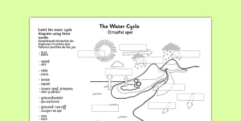 Water Cycle Labelling Worksheet Romanian Translation - romanian, water cycle, water cycle worksheet, label the water cycle, ks2 geography worksheet, rain, weather, rivers and streams