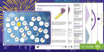 Counting Down to New Year Board Game - English/Spanish - Counting Down to New Year Board Game - counting, new years, game, countng, couting, happynewyear, ne