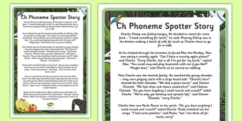 Ch Phoneme Spotter Story - EYFS, Early Years, KS1, Key Stage 1, phonics, Letters and Sounds, dfe, phonemes, alternative spellings, year 1, phase, 5, five