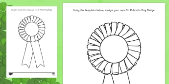 Design a St. Patrick's Day Badge Colouring Page - ROI - St. Patrick's Day Resources, Badge, Rosette,Irish, colouring.
