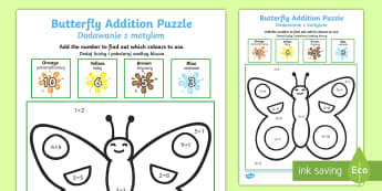 Butterfly Addition Puzzle Polish Translation English/Polish - Butterfly Addition Puzzle (0-10) - Minibeasts - minibeast investigation, addition, plus, maths game,