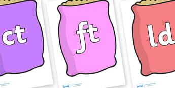 Final Letter Blends on Bags - Final Letters, final letter, letter blend, letter blends, consonant, consonants, digraph, trigraph, literacy, alphabet, letters, foundation stage literacy