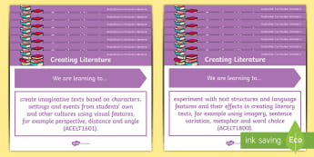 Literature Content Descriptions Creating Literature Display Posters - Australian Curriculum English Content Descriptions, Creating Literature, Foundation Year, Prep, Year