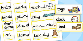 Bedroom Word Cards - houses and homes, house, home, building, bedroom, Word cards, Word Card, flashcard, flashcards, brick, stone, detached, terraced, bathroom, kitchen, door, caravan, where we live, ourselves