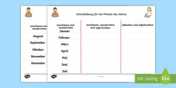 Schreibübung für die Monate des Jahres German - german, months, year, writing, practice, worksheets