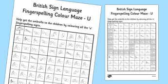 British Sign Language Left Handed Fingerspelling Colour Maze U
