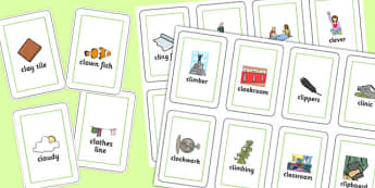 Two Syllable CL Playing Cards - two syllable, cl, playing cards, play, cards, speech, language
