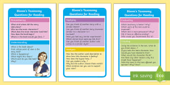 Bloom's Taxonomy Questions for Reading IKEA Tolsby Frame  - bloomstaxonomy, reding, evaluating, applying, remembering,analysis, understanding creating,