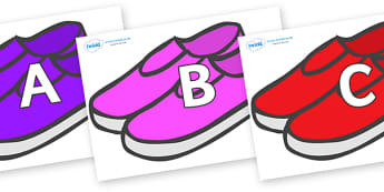 A-Z Alphabet on Shoes - A-Z, A4, display, Alphabet frieze, Display letters, Letter posters, A-Z letters, Alphabet flashcards
