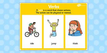 Verb Display Poster - verb display, grammar, literacy, vocab