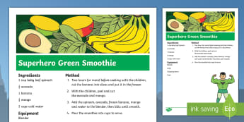 Superhero Green Smoothie Recipe - Superheroes, superhero, hulk, drink, cooking, cookery club, Incredible Hulk, Marvel, healthy eating
