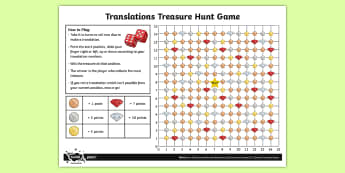Translations Treasure Hunt Game - Position and Direction, translation, translations