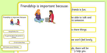 KS3 Why Is Friendship Important Worksheet - SEN, support, behaviour, relationships, secondary, activity, PSHE, friends, help, decisions, caring, people