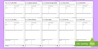 Famous Black Authors Activity Sheets - author study, fact file, bHM, John Agard, Maya Angelou, Malorie Blackman, Benjamin Zephaniah, Chinua
