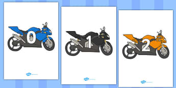 Numbers 0-50 on Motorbikes - 0-50, foundation stage numeracy, Number recognition, Number flashcards, counting, number frieze, Display numbers, number posters