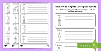 People Who Help Us Descriptive Words Worksheets - people who help us, people who help us worksheet, people who help us descriptive worksheet, descriptions